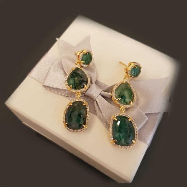 עגילים זכוכית ירוקים