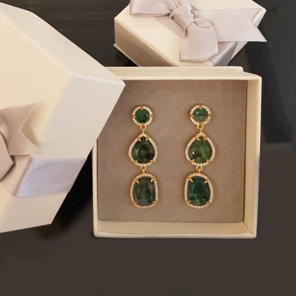 עגילים זכוכית ירוק