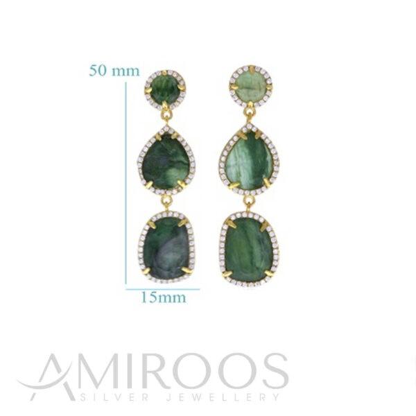 עגילי זכוכית ירוקים