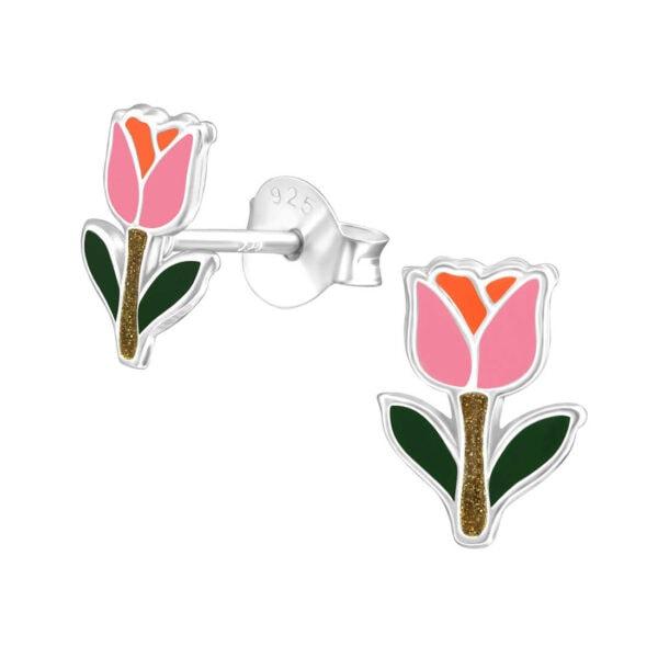 עגילי ורד צמודים