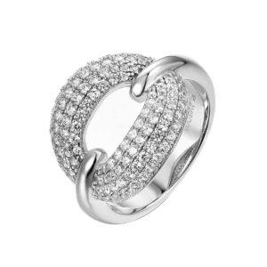 טבעת כסף משובצת זרקונים