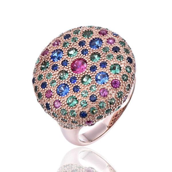 טבעת רוזגולד זירקונים צבעוניים
